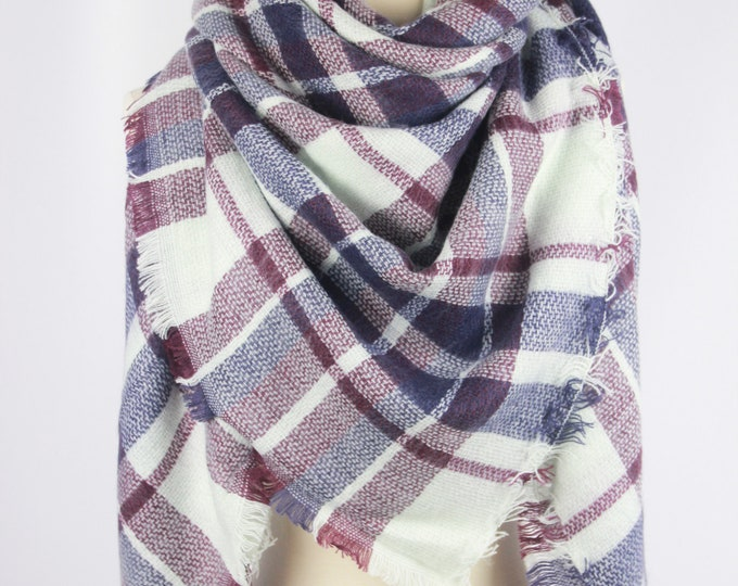 New Plaid Blanket Oversized Tartan Scarf Wrap Shawl Multi Color–Light Violet Purple