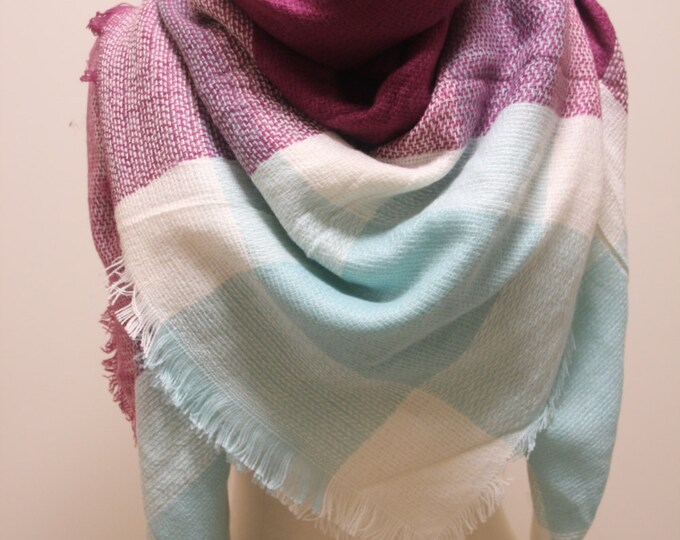 New Lady Blanket Oversized Tartan Scarf Wrap Shawl Plaid Multi Color – Purple Sky Blue