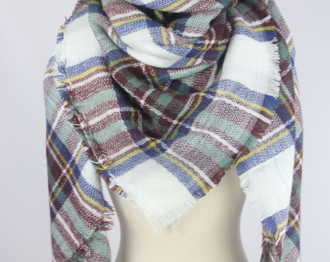 New Plaid Blanket Oversized Tartan Scarf Wrap Shawl Multi Color – White Brown Blue Checked