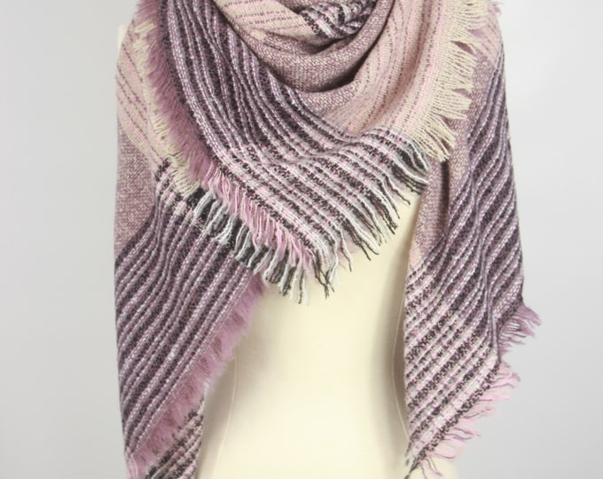 New Plaid Blanket Oversized Tartan Scarf Wrap Shawl Multi Color – Purple Checked