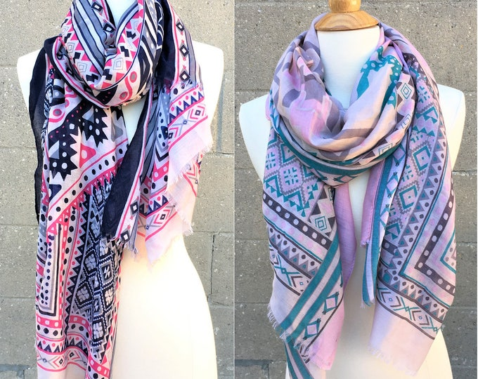 New Fall Scarf Pattern Wrap Thin Lightweight Multi Colors