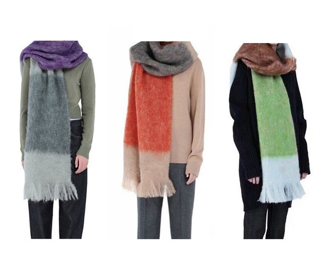 New Winter Long Soft Fluffy Oversized Blanket Shawl Wrap Scarf  Mix Color