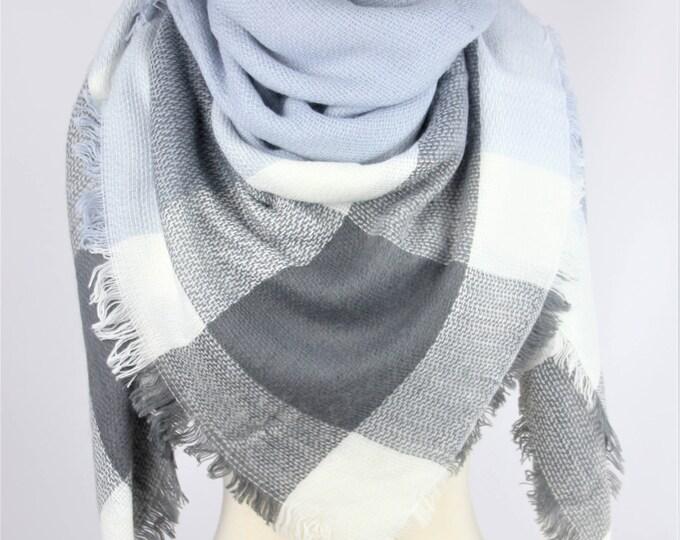 New Lady Blanket Oversized Tartan Scarf Wrap Shawl Plaid Multi Color – Grey Sky Blue