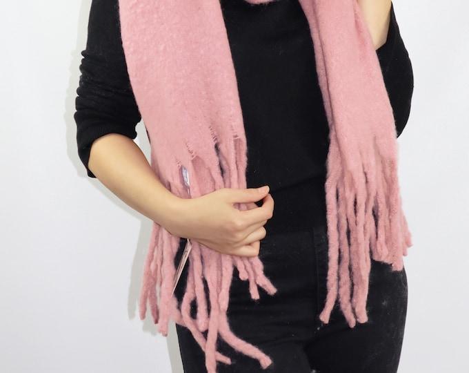 Long Chunky Knit Blanket Shawl Wrap Scarf Pink
