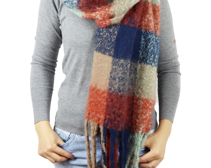 Long Chunky Knit Checked Blanket Shawl Wrap Scarf