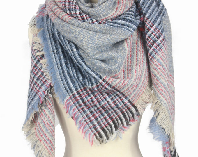 New Plaid Blanket Oversized Tartan Scarf Wrap Shawl Multi Color – Pink Blue Checked