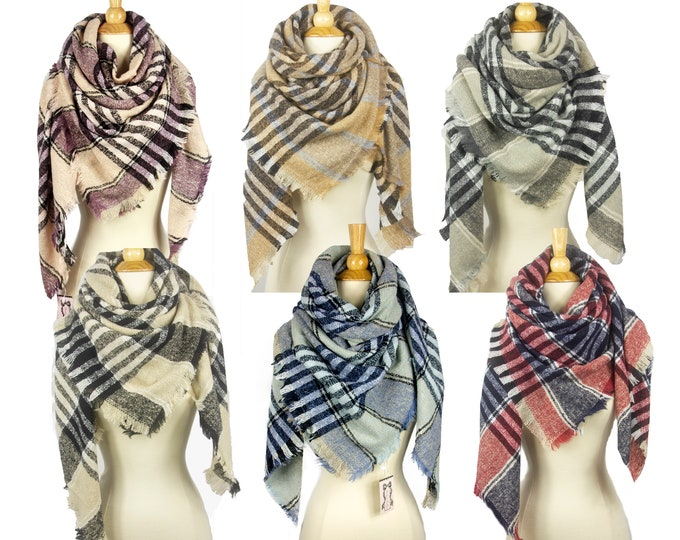 New Stripe Checked Blanket Oversized Tartan Scarf Wrap Shawl Multiple Colors Available