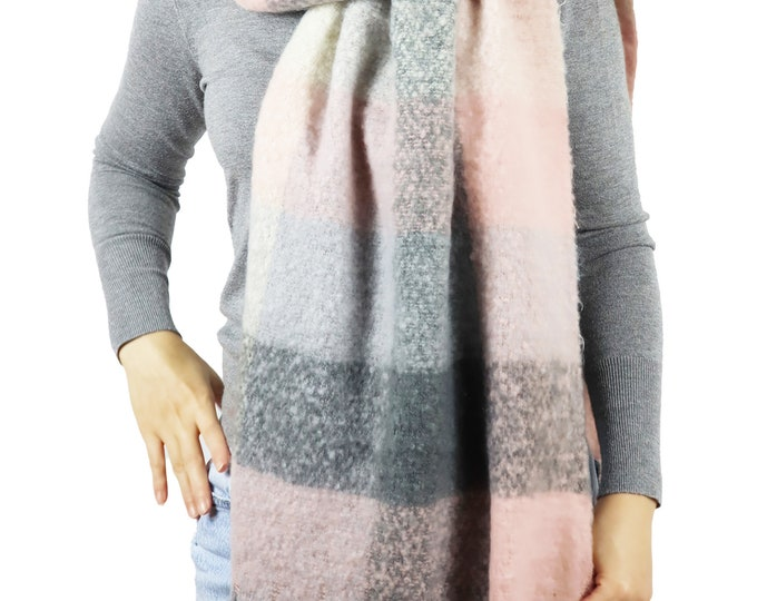 Long Chunky Knit Checked Blanket Shawl Wrap Scarf Pink