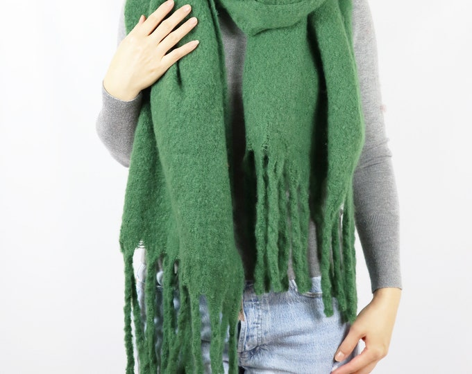 Long Cozy Chunky Knit Blanket Shawl Wrap Scarf Green