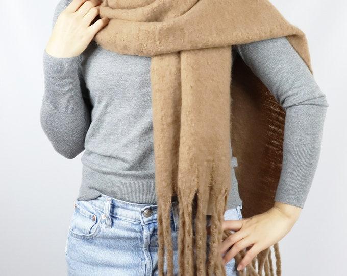Long Cozy Chunky Knit Blanket Shawl Wrap Scarf Tan