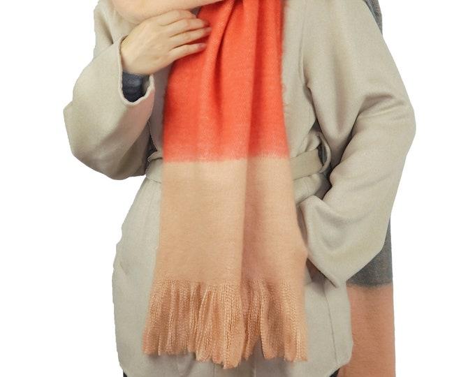 Long Chunky Knit Blanket Shawl Wrap Scarf Peach