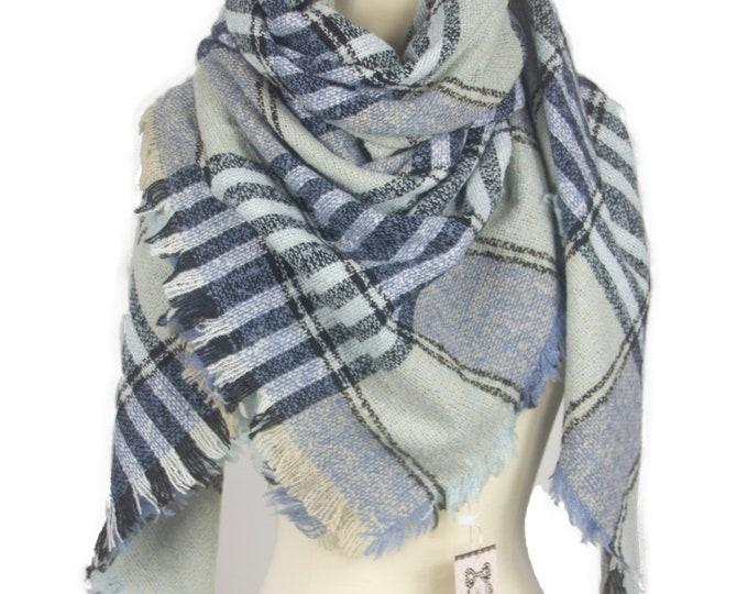 New Plaid Blanket Oversized Tartan Scarf Wrap Shawl Multi Color – Blue Checked