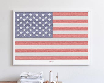 American Flag. Complete history of the United States in a single poster.  (27.5 in x 19.7 in)