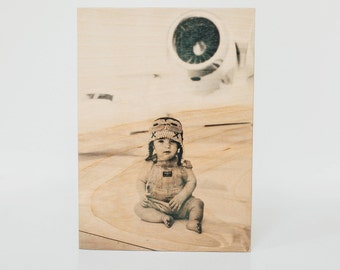 5 x 7 Wood Photo Block, Photo Block, Picture on Wood, Photo Transfer, Wood Photo Block, Picture Frame, Photo Wood Block, Old Fashioned Photo