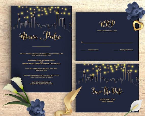 Wedding invitation template navy blue city skyline cheap stopboris Gallery