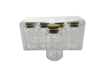 "2"" Glass Bottle Vial w/ Cork (12) -  Glass Favor - Free Shipping!"