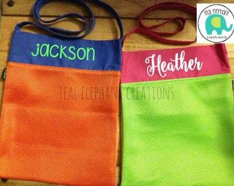 Personalized Shell Bag, Sea Shell Bag, shell tote, beach life, shell tote, kids shell bag, beach treasures, mesh shell bag