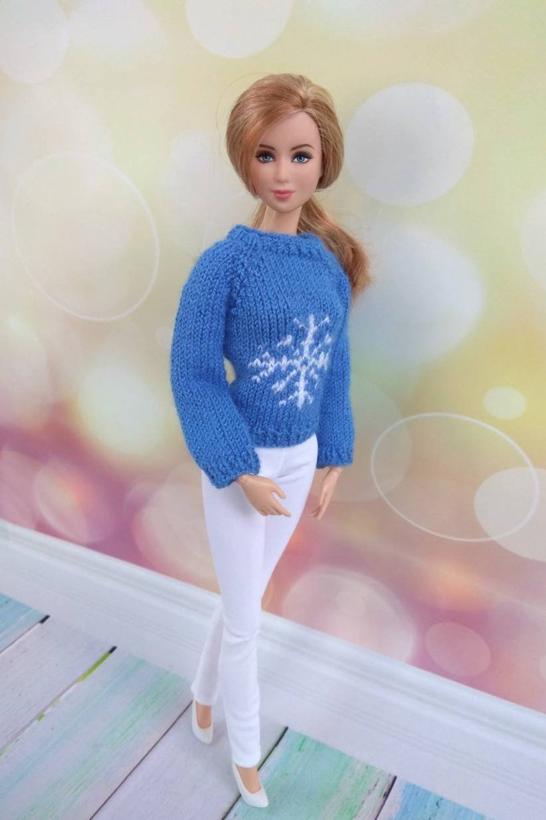 Christmas Barbie doll clothes. Hand-knitted blue sweater with  3e3b0bf7a