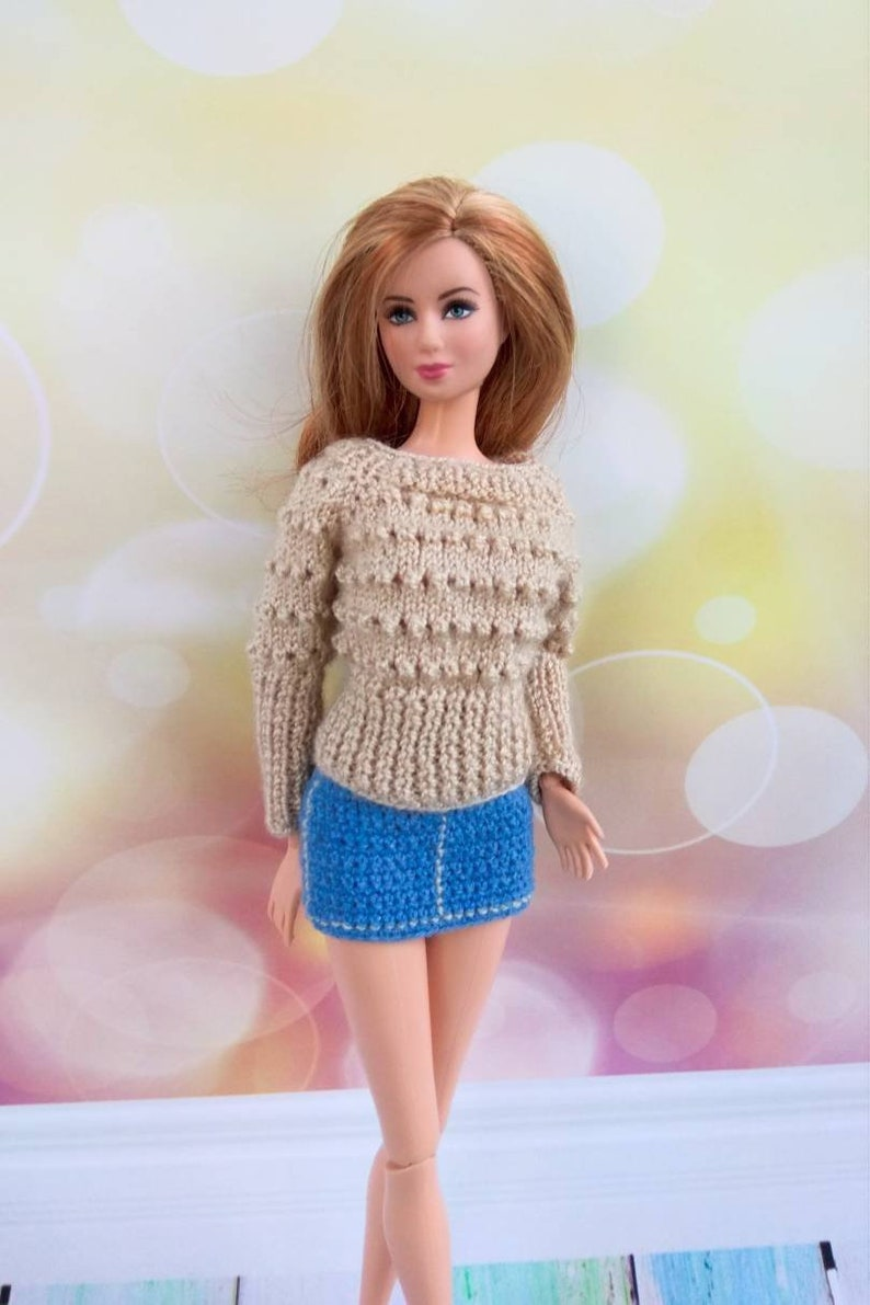 ea31d6bfdf Barbie doll clothes. Hand-knitted dark ecru sweater and | Etsy