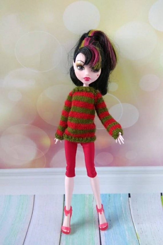 "White Hand Knit Sweater /& Black Capris for 22/"" American Model doll tonner"