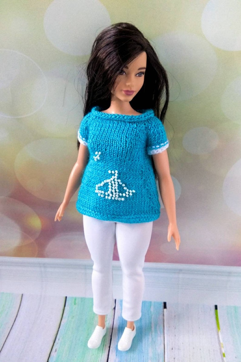 Curvy Barbie doll clothes. Hand-knitted blue tunic and white  c780d6f4b
