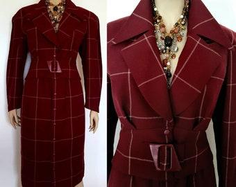 a6267e6dbdc THIERRY MUGLER luxueux robe costume Bourgogne pure laine Veste ceinture  jupe longuette crayon Vintage 70 années 80 neuf