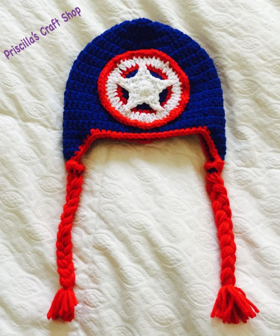 Capitán América sombrero / ganchillo Capitán América sombrero | Etsy