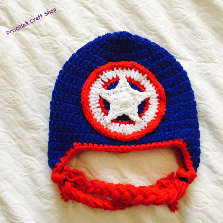 Captain America Hat Crochet Captain America Hat Crochet Hat Etsy