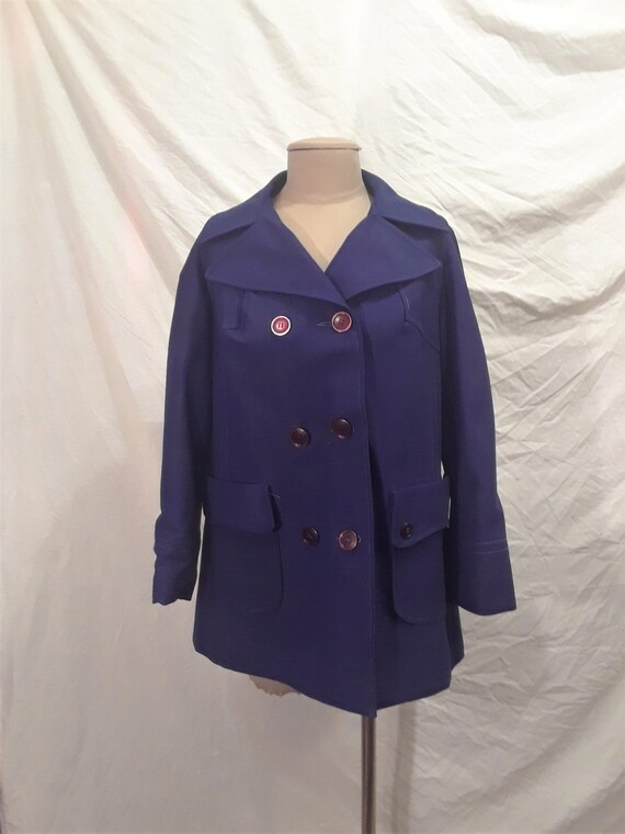 Vintage des années 1970 bleu Trench Coat taille M L Vintage   Etsy 6b32e4f0c43