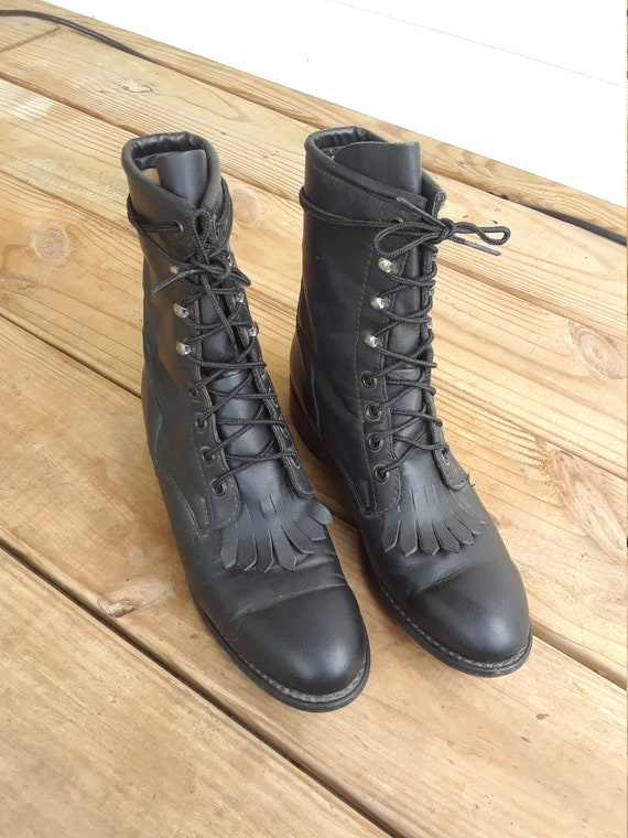Vintage 1960s Military Boots Size 7 Black leather