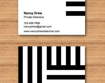 Instant Download - Black and White Stripes Business Card Template