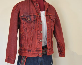 Red Boys Small Denim Jacket Red Hand Dyed Upcycled Tiger Bay Etsy
