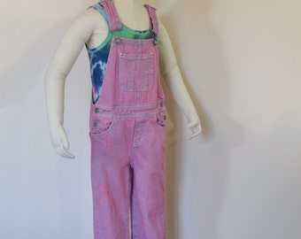 81451aa944 Pink Kids Sz 6 6X Year Small Bib Overall Pants - Pastel Pink Dyed Jordache  Denim Overalls - Child Girls Size Small (26 Waist x 22 L)