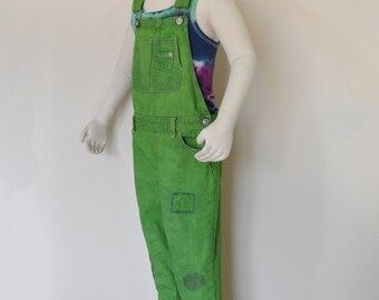 fee48bd32c Green Kids Sz 10 12 Year Large Bib Overall Pants - Lime Dyed Upcycled  Jordache Denim Overalls - Childs Girls Size 10 12 (30