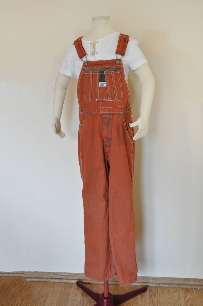 a1c21e92 Orange Kid 14 Large Bib OVERALL Pants Orange Dyed Upcycled | Etsy