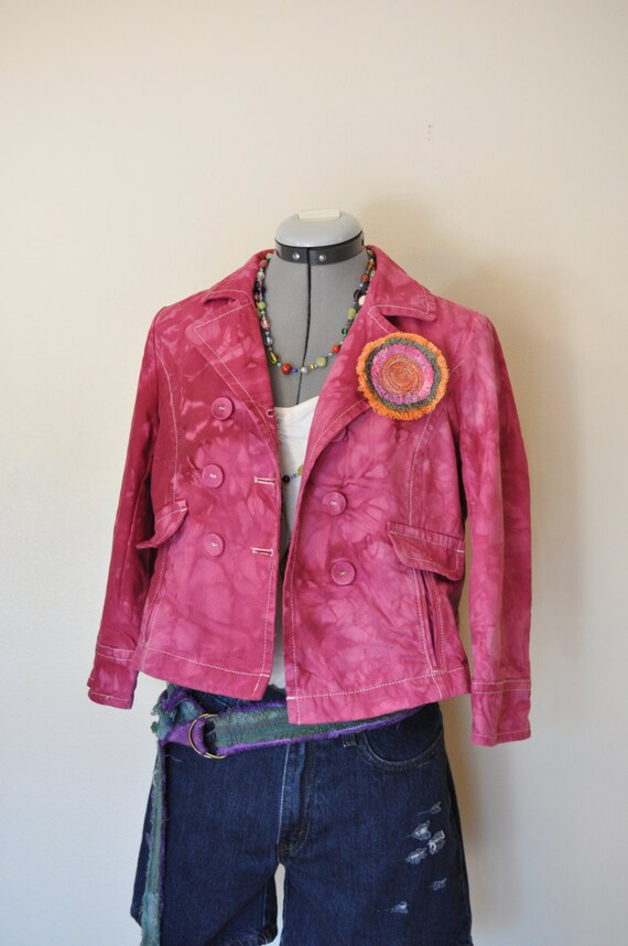 Pink Small Denim JACKET Fuchsia Pink Dyed Upcycled Old Navy Double Breasted Peacoat Adult Womens Teen Juniors Small (36