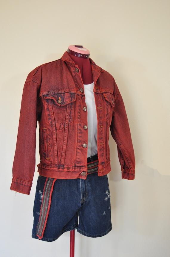Red Boys Medium Denim Jacket Scarlet Red Dyed Upcycled Etsy