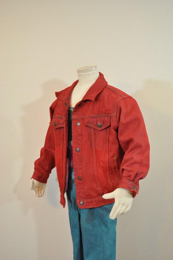 brand new 98fe4 c8987 Roten jungen Sz 6 Jahr Denim JACKE - Scarlet rot gefärbt Upcycled Faded  Glory Kinder Trucker Jeansjacke - Kinder jungen Medium Large (34