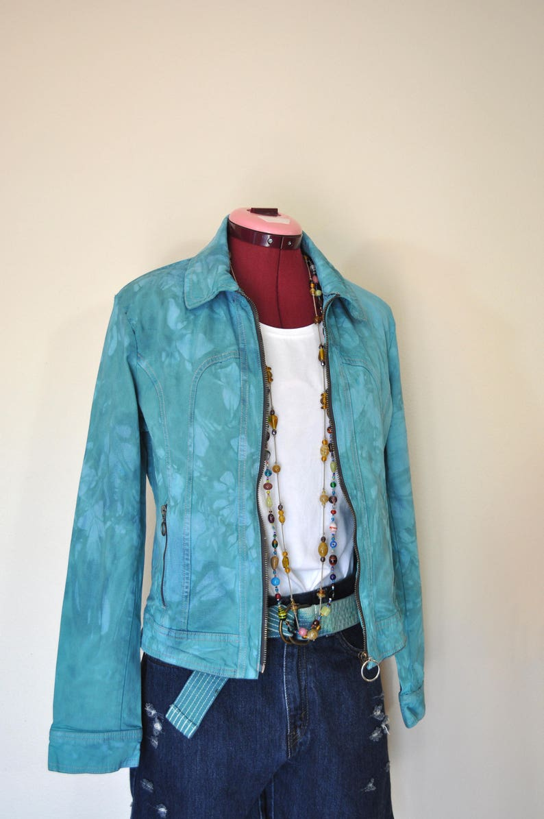 1645c8bd297 Teal Sz 16 XL Denim JACKET Blue Green Dyed Upcycled Limited
