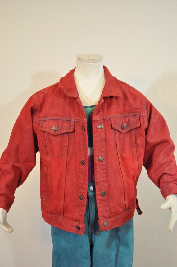 Red Boys Sz 6 Year Denim Jacket Scarlet Red Dyed Upcycled Etsy