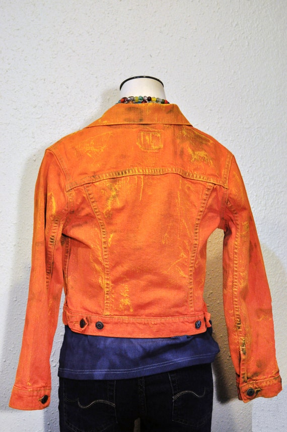 Orange Kids Large Denim JACKET Carrot Orange Hand Dyed Upcycled Levi's Denim Trucker Jacket Kid CHILDs Large (32