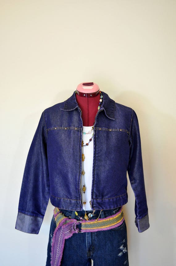 Kid Youth Large Denim JACKET Blue Violet Hand Dyed Upcycled Denim Xhileration Trucker Jacket Teen Junior CHILD Sz 810 Large (36