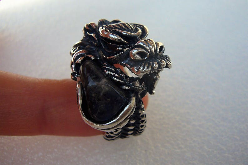 Labradorite Silver Ring Antique Style Silver Ring Goth Ring Dragon Jewelry For Men Biker Rings Designer Ring Jewelry For Men 925 Silver Ring