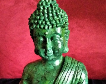Buddha Statue New Hand-Painted Jade Finish One of a Kind Artisan Made