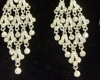 Silver Chandelier Earrings pierced 3 inches long Marcasite Silver Tone