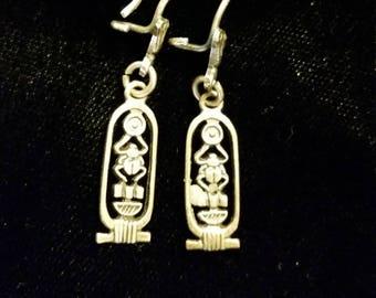 Silver Egyptian Motif Drop earrings 1 inch