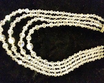 Vintage Multi Strand 4 Crystal Glass beaded necklace 18 inch descending strands