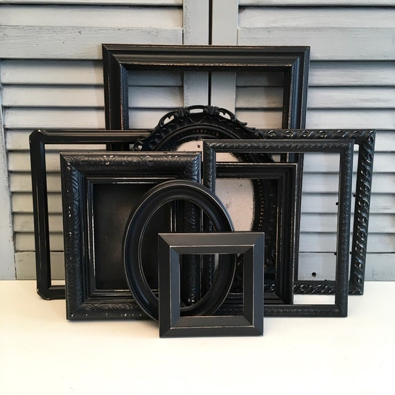 Black Picture Frame Collage Farmhouse Decor Rustic Frames Gallery Wall Frames Custom Frame Set Distressed Frames Nursery Frames