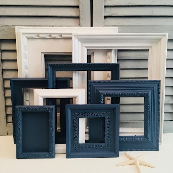 custom navy blue and white gallery wall set blue frame set etsy. Black Bedroom Furniture Sets. Home Design Ideas