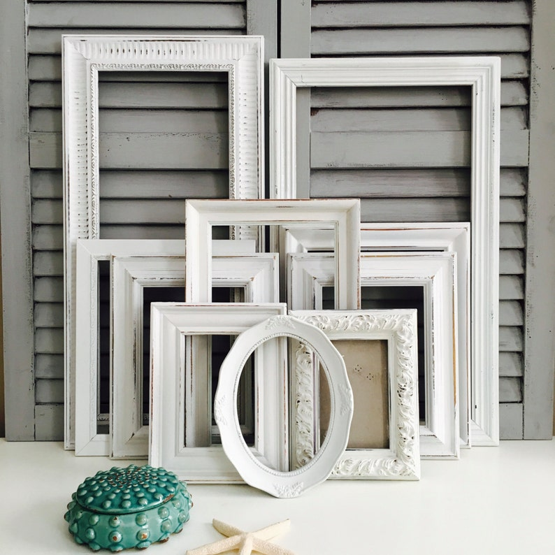White Shabby Chic Frame Set Hand-Painted Gallery Wall Frames image 0